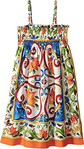 Dolce & Gabbana Kids Girl's Sleeveless Dress (Big Kids) Maiolica Print 12 by Dolce & Gabbana