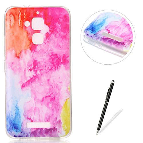 ASUS ZenFone 3 Max ZC520TL Soft Clear Silicone Case + Free Black Touch Stylus,KaseHom Rainbow Oil Painting Fashion Design Ultra Slim Thin Rubber Bumper Flexible TPU Gel Protective Case (Vans Lace Designs)