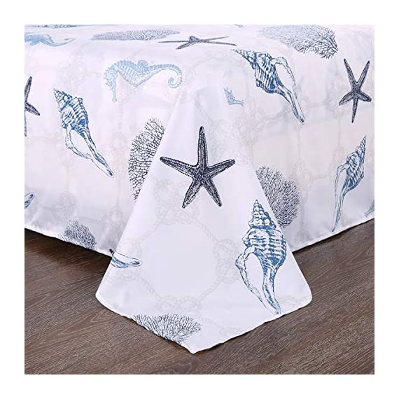 "ARTALL Brushed Microfiber Bed Sheet Set 4-Piece 1800 Bedding Seashell Starfish Pattern, Blue, Queen Size - [SUPER SOFT FABRIC]: our sheet set is made with Premium Brushed Microfiber. Fade, wrinkle and shrink resistant. Made of premium microfiber that makes the fabric more durable than cotton. It provides you a unique soft, comfortable, luxurious feel that make you fall asleep fast and sleep better. [MEASUREMENTS]: Queen: Flat sheet 90""x102""; Fitted sheet 60x80+14""; Pillowcases 2x20""x30"" [UNIQUE DESIGN]: ARTALL Printed Sheet Set features attractive gorgeous sea life pattern. The duvet cover with vibrant colors looks elegant and it adds romantic atmosphere to your room. - sheet-sets, bedroom-sheets-comforters, bedroom - 51brIEkd2kL. SS570  -"