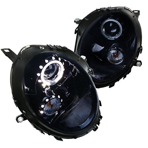 Mini Cooper Glossy Black LED Halo Rim Projector Headlights Smoke Lens Headlamps