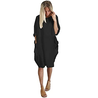516d30eb Women's Summer Casual Solid Round Neck Loose Tunic Long Tops Blouse Dress  with Pockets Black