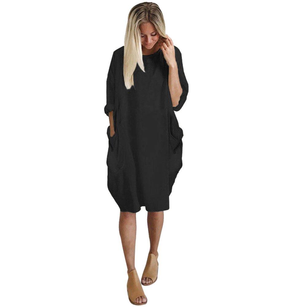 Womens Pocket Loose Dress Ladies Crew Neck Casual Long Tops Dress Plus Size (L, Black)