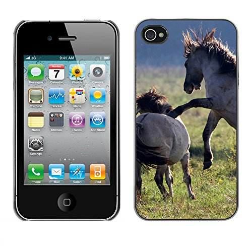 Premio Sottile Slim Cassa Custodia Case Cover Shell // F00004062 chevaux jouant // Apple iPhone 4 4S 4G