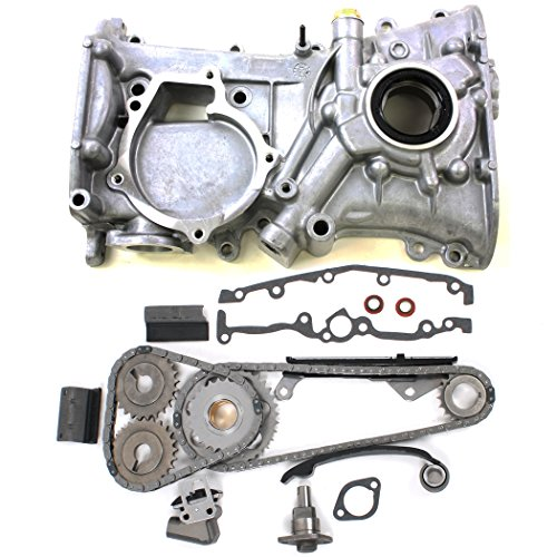 NEW TK10080OP Timing Chain Kit & Front Timing Cover w/Oil Pump and Seal for Nissan 1.6L DOHC 16-Valve Engine GA16DE (91-99) Sentra / (95-98) 200SX / (91-93) NX1600