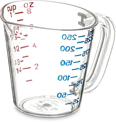 Carlisle 4314107 Commercial Plastic Measuring Cup, 1 Cup, Clear