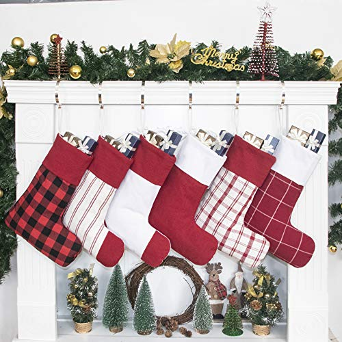GEX 2019 Christmas Stockings for Family 6 Pack Classic Plaid Stripe 16
