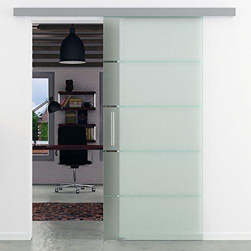 900 x 2050 x 8 mm para puerta corredera de cristal de rayas | Alu-sistema ferroviario Basic | Barras de mango | TODO incluido fabricado en Alemania de fabricante LEVIDOR muy corre