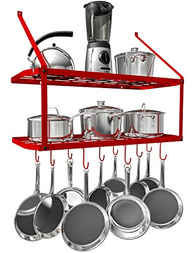 (VDOMUS Pots and Pans Rack Wall Mounted Hanging Pot Shelf - 2 Tier (Red))
