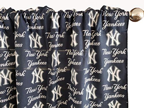 "Zen Creative Designs 100% Cotton MLB Sports Team New York Yankees Navy Multi-Print Window Valance Panel/Kids Nursery Window Treatment Decor (24"" Tall)"
