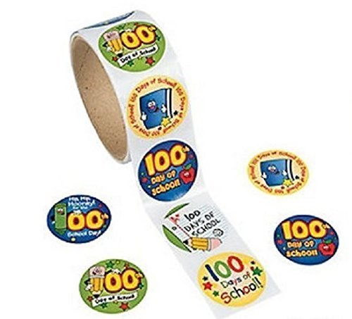 Roll Stickers 2 Rolls (100 Stickers on Each Roll) (100th Day Of School Stickers)