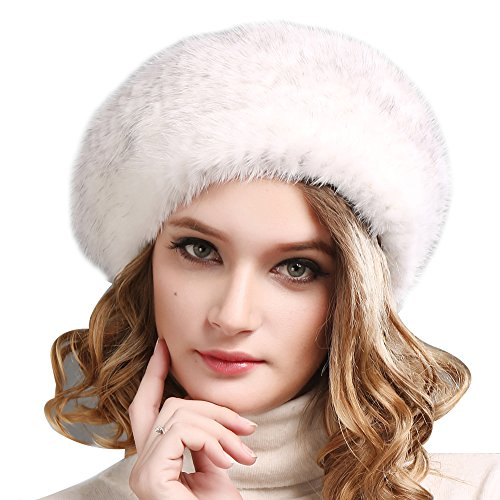 FURTALK Ladies 100% Natural Mink Beret Hat women winter fur hats mink fur beret for women (White)