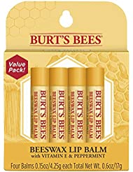 Burt's Bees 100% Natural Moisturizing Lip Balm, Original Beeswax with Vitamin E & Peppermint Oil –  4 Tubes