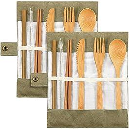 2 Set Bamboo Cutlery Flatware Set Bamboo Travel Utensils Include Reusable Knife Fork Spoon Chopsticks Straws