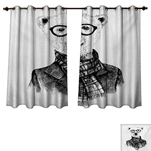 RuppertTextile Animal Blackout Thermal Curtain Panel Hand Drawn Monochrome Sketch Style Hipster Bear with Jacket Scarf Glasses Window Curtain Fabric Black Grey and White W55 x L45 inch