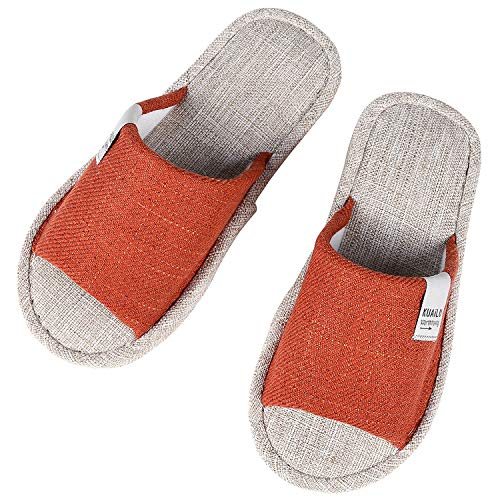 Flax House Slippers for Women Summer Open Toe Indoor Slippers OR-M Orange