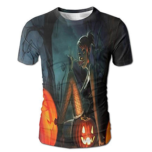HenSLK Men's Summer Halloween Witch Pumpkin Casual Novelty Crew Neck Short Sleeve Tee Gift ()