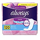Always Thin Daily Liners, 120 Count, Unscented, Wrapped, Regular