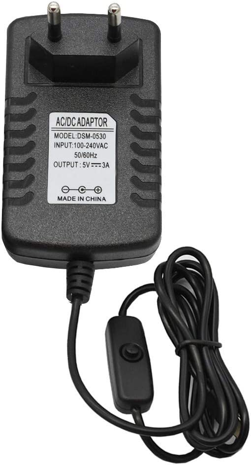 RETYLY daptateur Dlimentation Pi 4 Interrupteur sur//Off Interrupteur Usb-C 5V 3.0A Eu
