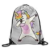 QAKVO-KUKU Hip Hop Funny Unicorn Drawstring Backpack Knapsack Bag