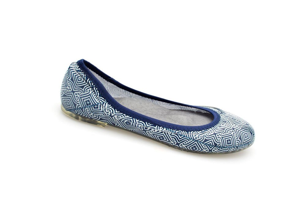 JA VIE Fashion Designer Shoes for Women Dress Shoes Slip On Womens Flats for Every Day Wear,Tile Print Navy/White SZ 39