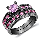 Pink Stone Diamond Bridal Women Engagement Wedding Band Ring Set Princess-Cut Us Size 5-11