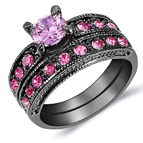 pink and black diamond ring - 6