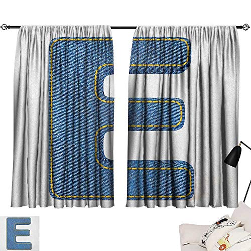 Room Curtains Letter E,Denim Blue Jeans Themed Symbol E from Alphabet ABC of Fabric Uppercase Letter, Blue Yellow 54