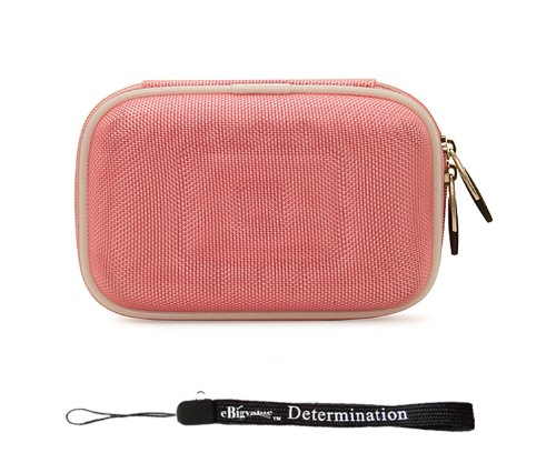 pink-nylon-durable-slim-protective-storage-cover-cube-carrying-case-with-internal-mesh-pocket-and-ca