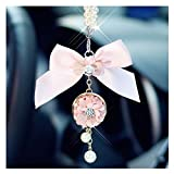 LuckySHD Car Rearview Mirror Hanging Accessories Bowknot with Pearl Pendant - Pink