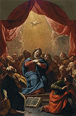 'Palomino Y Velasco Acisclo Antonio Pentecostes Ca. 1697 ' Oil Painting, 18 X 27 Inch / 46 X 70 Cm ,printed On High Quality Polyster Canvas ,this Replica Art DecorativePrints On Canvas Is Perfectly Suitalbe For Dining Room Decor And Home Decoration And Gi
