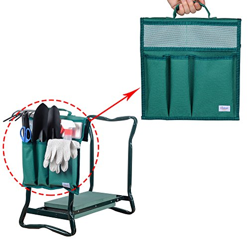 KI Store Garden Kneeler Tool Bags with Handle for Both Standard and Wide Kneeling Chair, Pouches for Patio,Bathroom, Laundry Room, Garage (Forest Green)