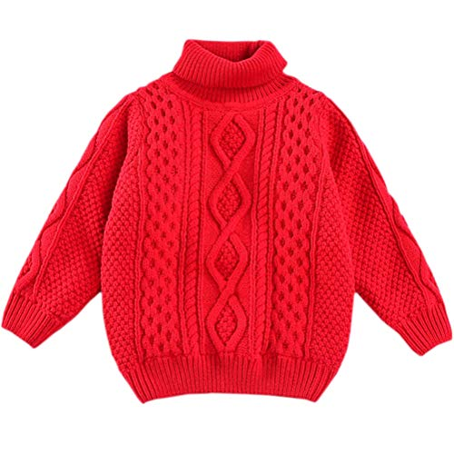 Kids Long Sleeve Turtleneck Vintage Chunky Twisted Warm Fleece Lined Knit Pullover Sweater for Toddler & Little Girls and Boys, Red 2-3 Months(2-3T) = Tag 100