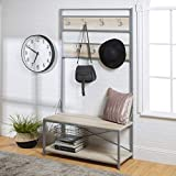 WE Furniture Industrial Metal and Wood Hall Tree in White Oak - 72