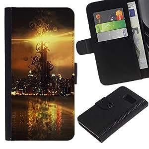 LASTONE PHONE CASE / Lujo Billetera de Cuero Caso del tirón Titular de la tarjeta Flip Carcasa Funda para Samsung Galaxy S6 SM-G920 / Sunset Beautiful Nature 114