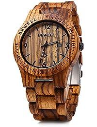 GBlife Bewell ZS - W086B Mens Wooden Watch Analog Quartz Lightweight Handmade Wood Wrist Watch (Zebra Wood)