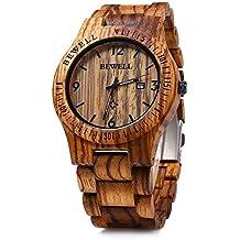 W086B Mens Wooden Watch Analog Quartz Lightweight Handmade Wood Wrist Watch (Zebra Wood)