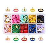 Pandahall Elite 500 PCS 10 Color 3/8 Inch Iron Thumb Tacks Colored Drawing Pins Plastic Round Head Push Pin for Home, School