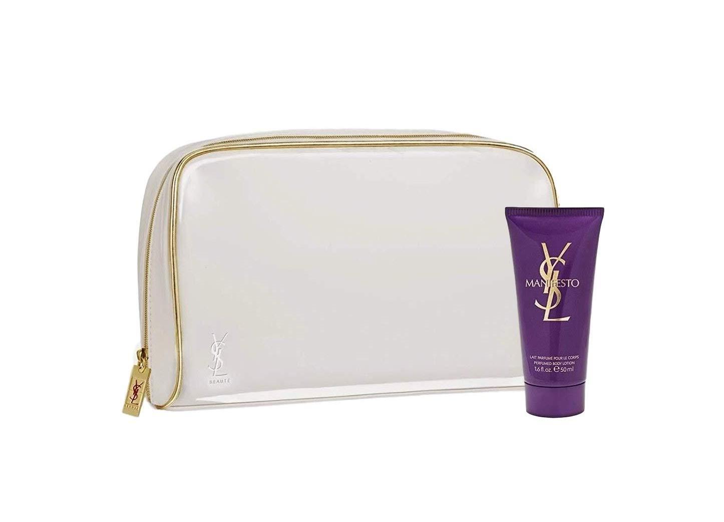 9bc9672dec81 Amazon.com   Yves Saint Laurent Manifesto Women s Cosmetic Makeup Bag Pouch  + Free Perfumed Body Lotion   Beauty