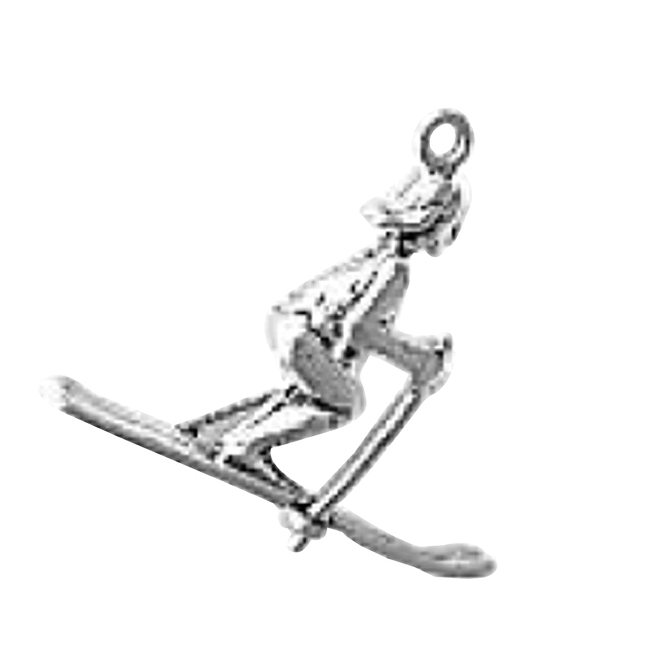 Sterling Silver 7 4.5mm Charm Bracelet With Attached 3D Female Snow Skier Charm