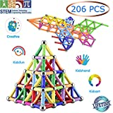Veatree 206 Pcs Magnetic Building Sticks Blocks Toys, Magnet Educational Toys Magnetic Blocks Sticks Stacking Toys Set for Kids and Adult, Non-Toxic Building Toy 3D Puzzle with Storage Bag