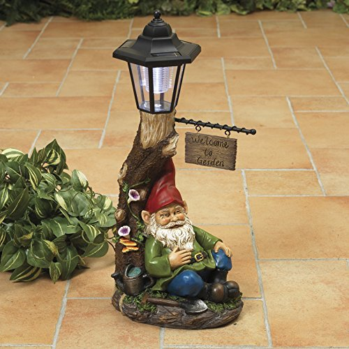 "Solar Lighted Welcome to Garden"" Sleeping Gnome Statue with Lantern - Outdoor Spring Decoration"