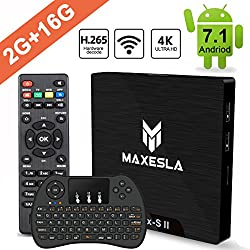 Android 7.1 TV Box Newest - Maxesla MAX-S II Smart TV Box with 2GB RAM + 16GB ROM, Amlogic S905W Chipset, 4K UHD Playing, H.265 Video Decoder, 2.4GHz with Remote Control + Mini Wireless Keyboard