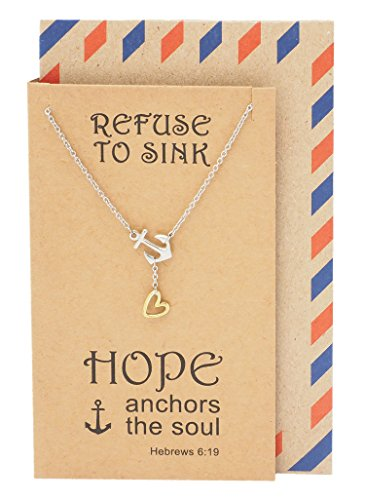 (Quan Jewelry New Anchor Necklace, Sailor Pendant with Mini Heart Charm, Seaman Lariat Necklace, Sea Anchor Inspirational Quote on Greeting Card (Two-Tone))
