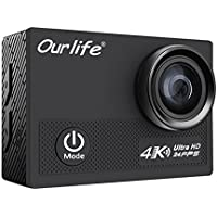 Anti-shake Action Camera 4K Wifi 16MP, Ourlife Underwater Camera with Sony CMOS-Sensor 170° Angle Camcorder with Mounting Kit