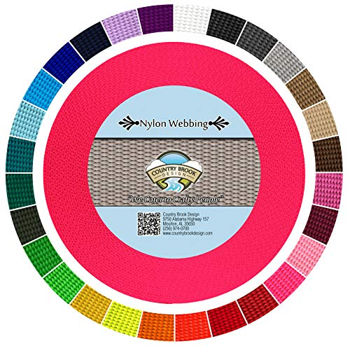 Country Brook Design | Durable 1 Inch Heavy Nylon Webbing | 28 Vibrant Colors (Hot Pink, 10 Yards)
