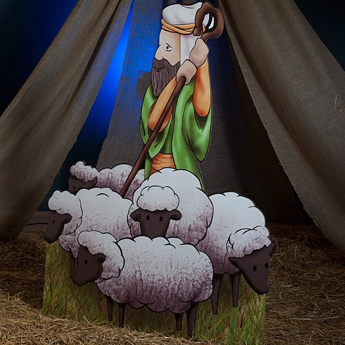 Shepherd and Sheep Standee Standup Photo Booth Prop Background Backdrop Party Decoration Decor Scene Setter Cardboard Cutout -