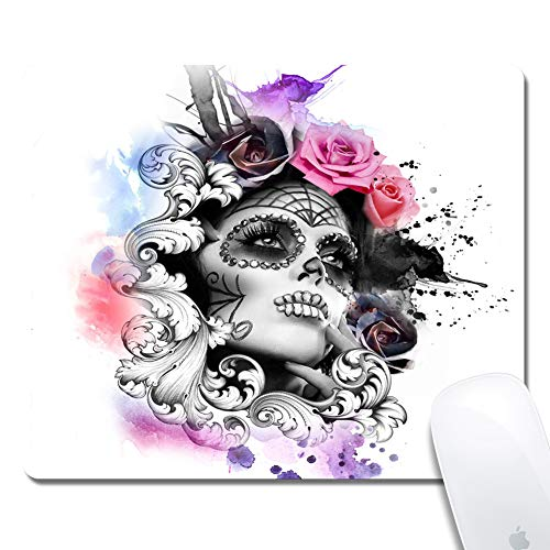 - Computer Mexican Candy Skull Girl Rectangle Mouse Pad (9.4x7.8 Inch), Printed Rubber Desk Accessories Mouse Mat