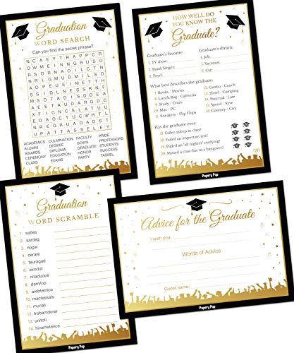 2019 Graduation Party Games - Set of 4 Activities - (50 Cards Each, 200 Total) - Graduation Party Supplies (Best College Graduation Party Ideas)