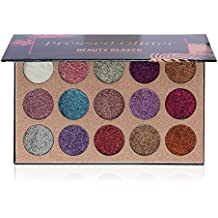 The Pressed Glitter 15 Color Ultra Pigmented GLITTER SHADOWS | BEAUTY GLAZED 15 Color Glitter Shimmer Eyeshadow Beauty Sequins Shadows Palette for Lips,Eyebrow and Eye shadow | QyeeCosmetics.