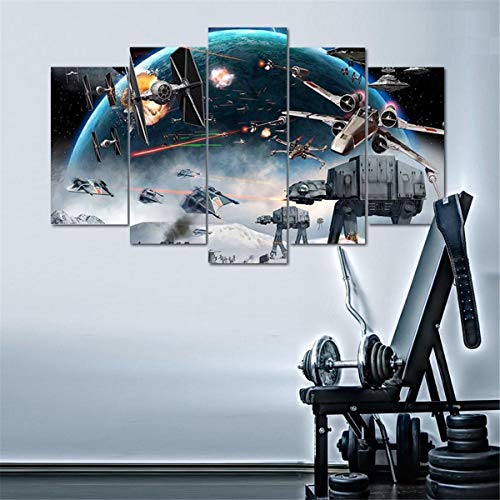 Star Wars Battle - 5 Piece Canvas Painting 5 Pieces Painting for Living Room Pictures Home Decor Poster (Star Wars Battle 5 Piece Canvas Painting)